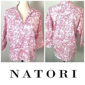 Pink & White Natori Women's Blouse